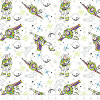 """Toy Story Buzz Lightyear White Camelot Premium 100% cotton Fabric Remnant 26"""""""