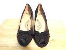 Sofft Heels 11M Brown Suede Leather Patent Trim Peep Toe Pumps