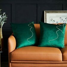 Western Home 2 Decorative Throw Pillow Covers 20x20 Embroidered, Dark Green