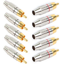 10pcs RCA Male Plug Adapter Audio Video Phono Gold Plated Solder Free Connector