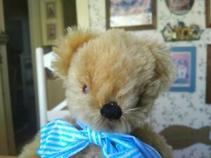 Antique Vintage 1950s mohair Chad Valley Teddy Bear side label England 10in GUC+