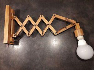 Ancienne Lampe Applique Accordeon Scandinave en bois .vendu sans l'ampoule