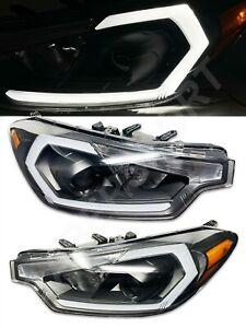 Black Headlights w/ LED C-Bar and Signal for 2014-2015 Kia Forte EX SX w/o HID