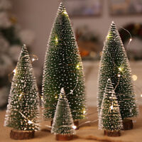 Mini Christmas Tree Fake Pine Tree Sisal Bottle Brush Snow Frost Tree Decor
