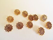 10 ANTIQUE GOLD FILIGREE FLOWER BUTTONS15mm