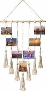 Hanging Photo Display Pictures Organizer Macrame Wall Decor with 25 Wood Clips