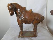 STUNNING VINTAGE CHINESE ASIAN TANG HORSE CERAMIC BROWN GLAZE WORRIOR WAR HORSE