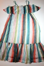 Marks & Spencer Colourful Striped Maxi Dress Size 22 Strappy Summer Long Ruffle