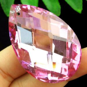 50x33x15mm Faceted Pink Titanium Crystal Teardrop Pendant Bead H77232