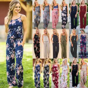 UK Summer Womens Floral Playsuit Ladies Long Beach Dress Jumpsuit 6-20 Plus Size