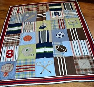Pottery Barn Kids Sport Patchwork Quilt Blanket 86 in by 66 in