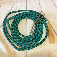 NEW  23' Nylon braided Mecatie Reins with Horse Hair Tassle BOSAL REINS TEAL AND