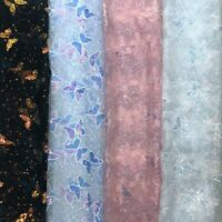 DIY Shiny Sequin Butterfly Embroidery Lace Mesh Fabric Bridal Dress Sew Material