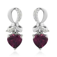 925 Sterling Silver Platinum Over Purple Garnet Zircon Dangle Earrings Ct 1.9