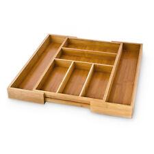 Casier Range-Couverts organiseur de Tiroir Cuisine bois Extensible Bambou boîte