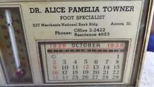 Vintage 1938 Advertising Calendar Thermometer Dr Alice Pamelia Towner Aurora IL