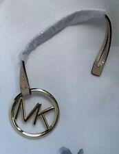 Michael Kors Gold Logo Purse Bag Charm KEY FOB Hang Tag Tan Patent Leather