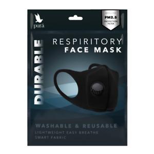 Black Washable Durable Neoprene Cycling Face Mask PM 2.5 Filter Valve UK Seller