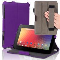 Slim Hard Back Leather Case Smart Cover w/ Hand Strap For Google Nexus 10 Purple