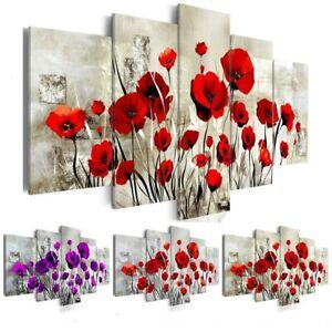 HUACAN 5pcs/set Flowers Diamond Painting Poppy Flower Full Drill Square 5D