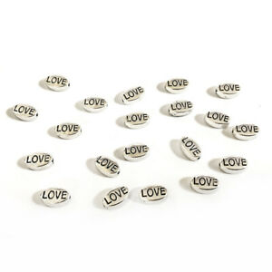 """Antique Silver Tibetan Zinc Beads Oval With """"Love"""" 6x10mm Pack Of 20"""