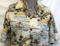 Hilo Hattie Sailing Ships Hotel Resort Hawaiian Shirt Size Large Aloha Palm Tree