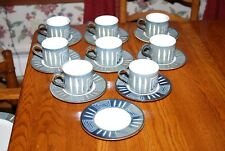 Set of 8 Mikasa Potters Craft Firesong Flat Cups & Saucers HP300 w/ Extra Plate
