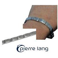 PIERRE LANG Bracelet gourmette rhodium argenté brossé cristal blanc 17cm bijou
