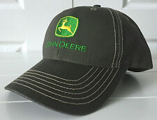 John Deere Canvas Olive Cap Hat w Contrast Stitching Adjustable