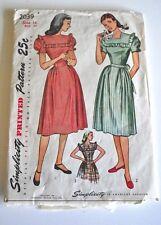 Vintage 1945 Simplicity Dress Pattern — Size 16, Bust 34 — Uncut, Factory Folded