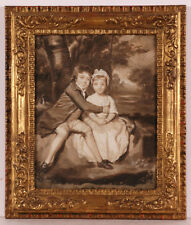 """Sir Joshua Reynolds-Follower """"John and Theresa Parker"""" Oil Painting Late 18th c."""