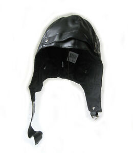 Black Faux Leather Pilot Hat Cap Military Adult Halloween Costume Aviator Cap