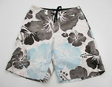 HURLEY Shorts Men's Size 32 Swimming Surfing Gray/White Floral Board