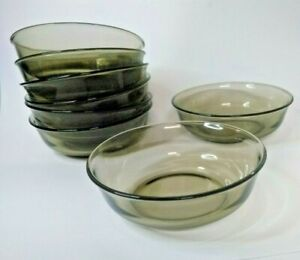 ARCOROC 8 bowls dessert cereal glass Fume smoke smokey clear vintage 80s France