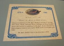 June 27 1982 Space Shuttle Columbia 4th Mission STS-4 Witness Certificate 8x10