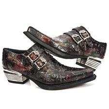 New Rock 7960-S5 Embossed Vintage Black, Red Leather Buckle Steel Heel Shoes
