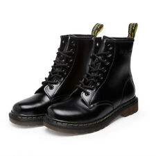 Womens Ankle Martin Boots Combat Military Leather Low Heel Lace-Up Casual New