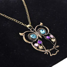 Women Vintage Rhinestone Owl Pendant Long Chain Necklace Jewellery Gift