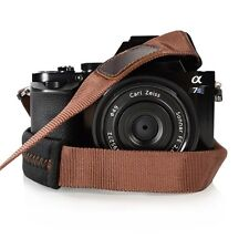 Padded Neck Shoulder Strap with Brown Grosgrain Ties Fujifilm Sony Nikon Canon..