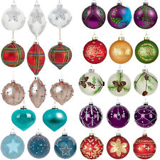 Christmas Decoration - Box of 12 Luxury 80-110mm Glass Baubles - Choose Design