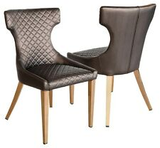 STAMFORD DINING CHAIR IN BROWN WITH ROSE GOLD LEGS