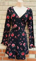 H&M BLACK RED FLORAL ALL BUTTONED LONG SLEEVE FIT A LINE TEA DOLLY DRESS 14 L