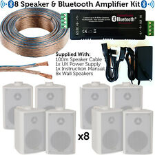 Wireless/Bluetooth Amplifier & 8x Wall Mount Speaker Set –Home Hi-Fi Amp System