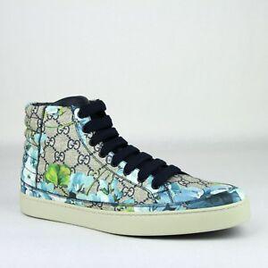 Gucci Supreme GG Coated Canvas Blue Bloom Print Hi Top Sneaker Shoes 407342 8470