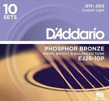 D'Addario EJ26-10P Phosphor Bronze, Acoustic Guitar Strings x10 SETS