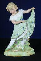 """Heubach Gebruder ballerina bisque porcelain dancing girl figurine statue 11"""""""