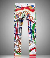 Mens teens Painte print denim Jeans pants Denim jeans Slim fit Pants Trousers