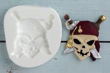 Silicona, Molde, Con Calavera Pirata, grado alimenticio, ellam Sugarcraft M032