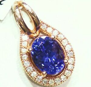 2.45CT 14K Gold Natural Tanzanite White Diamond Vintage Halo Engagement Necklace