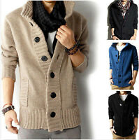 Mens knit Casual Coat Korean Trench Fit Line Jacket Sweater Parka cardigan NEW